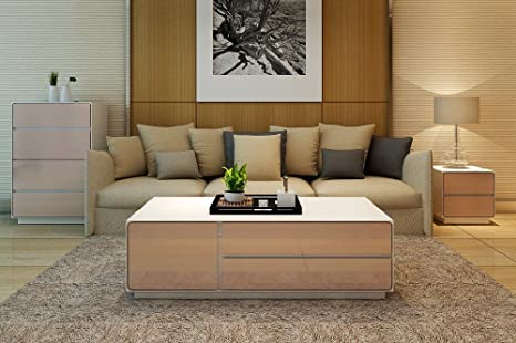 Couchtisch Wohnzimmertisch Beistelltisch in Hochglanz Weiß mit Beigen Fronten mit 4 Schubladen und 2 Turen