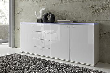 Sideboard NEW YORK Anrichte in Weiß, Fronten Hochglanz optional LED-Beleuchtung, Beleuchtung:ohne Beleuchtung