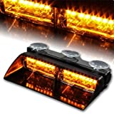 WoneNice 16 LED High Intensity LED Law Enforcement Emergency Hazard Warning Strobe Lights 18 Modes for Interior Roof/Dash/Windshield with Suction Cups (Amber) (Color: Amber)