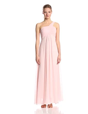 Ever Pretty Women's One Shoulder Padded Ruffles Fashion Long Evening Gown, Pink, 4