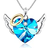 GEORGE · SMITH Love Angel Blue Heart Halo Pendant Necklace Wedding Anniversary Jewelry for Daughter Wife Mom with Swarovski Crystals (Color: blue-angel)