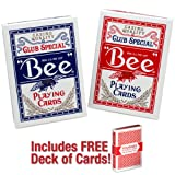 2 Decks of Premium Bee Playing Cards (Red & Blue) with Free Deck of Brybelly Cards