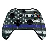 eXtremeRate Custom Patterned Front Housing Shell Faceplate for Xbox One S & Xbox One X Controller - The Thin Blue Line Flag of USA
