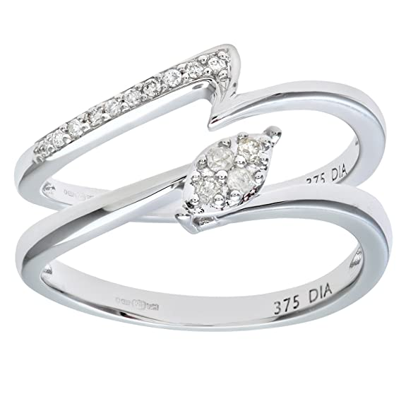 Naava 9ct White Gold 0.10ct Diamond Crossover Bridal Set Ring