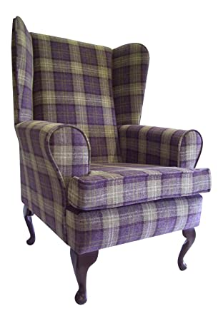 Queen Anne Style Chair In A Plum Tartan Fabric ...wing back fireside high back chair. Ideal bedroom or living room furniture