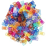 Craft County 100 or 200 Piece 3/8 Inch Contoured Side Release Plastic Buckles (Clear Mix, 200 Pack) (Color: Clear, Tamaño: Clear Mix - 200 Pack)