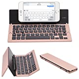 NOVT Portable Aluminum Folding Bluetooth Keyboard Foldable Compatible with iPhone xs max/x/8/7 Plus/7/6s Plus/6/iPad 2018 9.7/Air 2 /Pro 9.7/iPad mini 4, Samsung Android Tablet Smart phone (Rose Gold) (Color: Rose Gold)