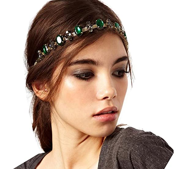 Green Crystal Black Gem Flower Headband