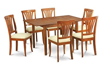 East West Furniture PSAV7-SBR-C 7-Piece Dinette Table Set