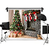 Kate 10X6.5ft/3x2m Christmas Photography Backdrops Xmas Backdrop Christmas Tree Socks Kids Backdrop Brick Fireplace Children Christmas Photo Background (Color: 1782, Tamaño: 10x6.5ft)