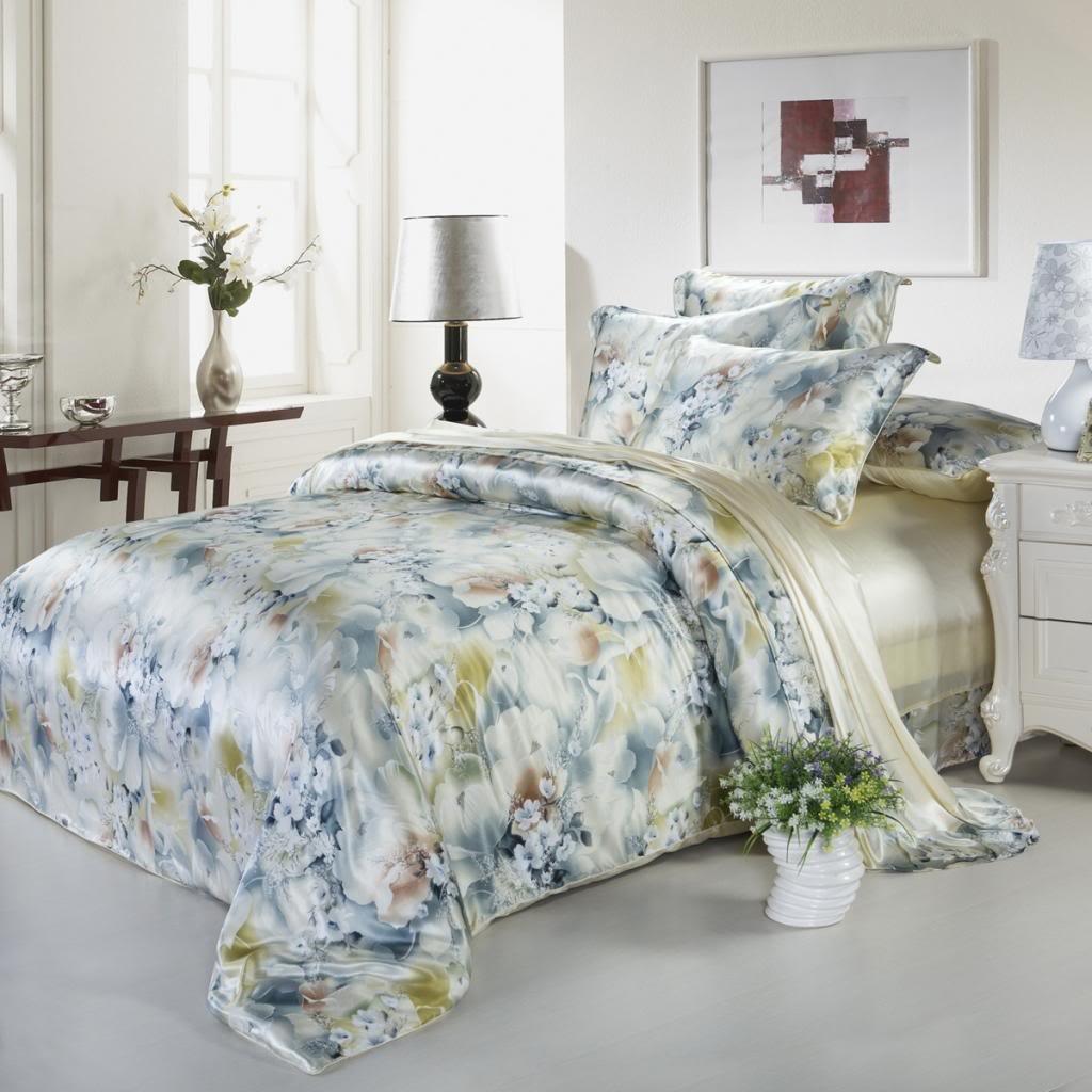 Orifashion Luxury Beige And Grey Printed 5-Piece 100% Silk Bedding Set, California King Size