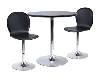 "Winsome Wood Spectrum 3pc Dinning Table Set, 29"" Round and 2 Swivel Faux Leather Chairs"