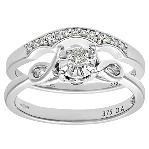 Naava 9ct White Gold 0.15ct Diamond Bridal Set Bow Ring