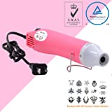 Heat Gun,mofa Hot Air Gun Tools Shrink Gun with Stand For DIY Embossing And Drying Paint Multi-Purpose Electric Heating Nozzle 300W 110V(Pink,White) (Color: Pink,White, Tamaño: Small)