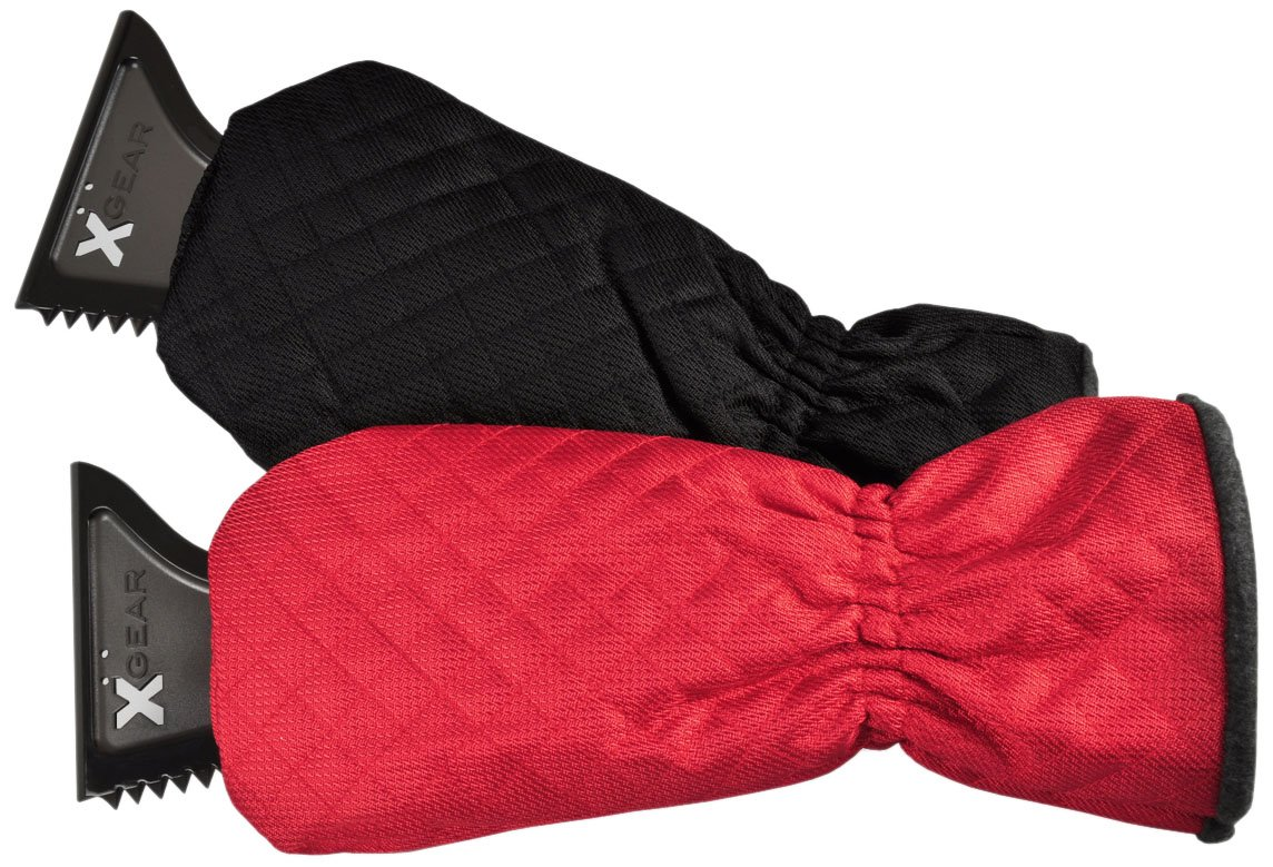 X-Gear Solid Ice Scraper Mitts (2-Pack, Black and Red) $13.99