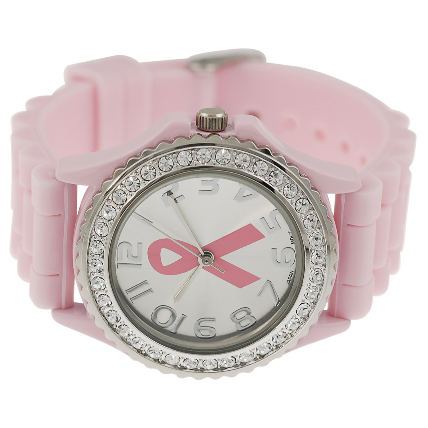womens rhinestone accented large breast cancer