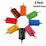 6 Pack Leather Pocket Key Organizer Cases, Carnatory Slim Compact PU Key Holder Key Pouch Leather Key Case Holder with 6 Key Hooks and Snap Closure