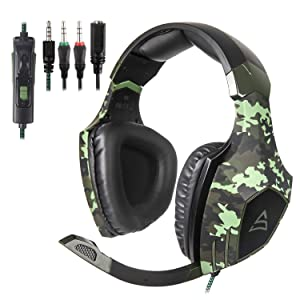 Xbox One,PS4 Stereo Gaming Headset,3.5mm Wired Over Ear Noise Cancelling Gaming Headphones with Mic & Volume Control & Bass Surround for Mac/PC/Laptop (Color: G820)