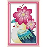 Full Range of Embroidery Starter Kits Stamped Cross Stitch Kits Beginners for DIY Embroidery (Multiple Pattern Designs) - Bird and Flowers (Color: Bird and flowers)