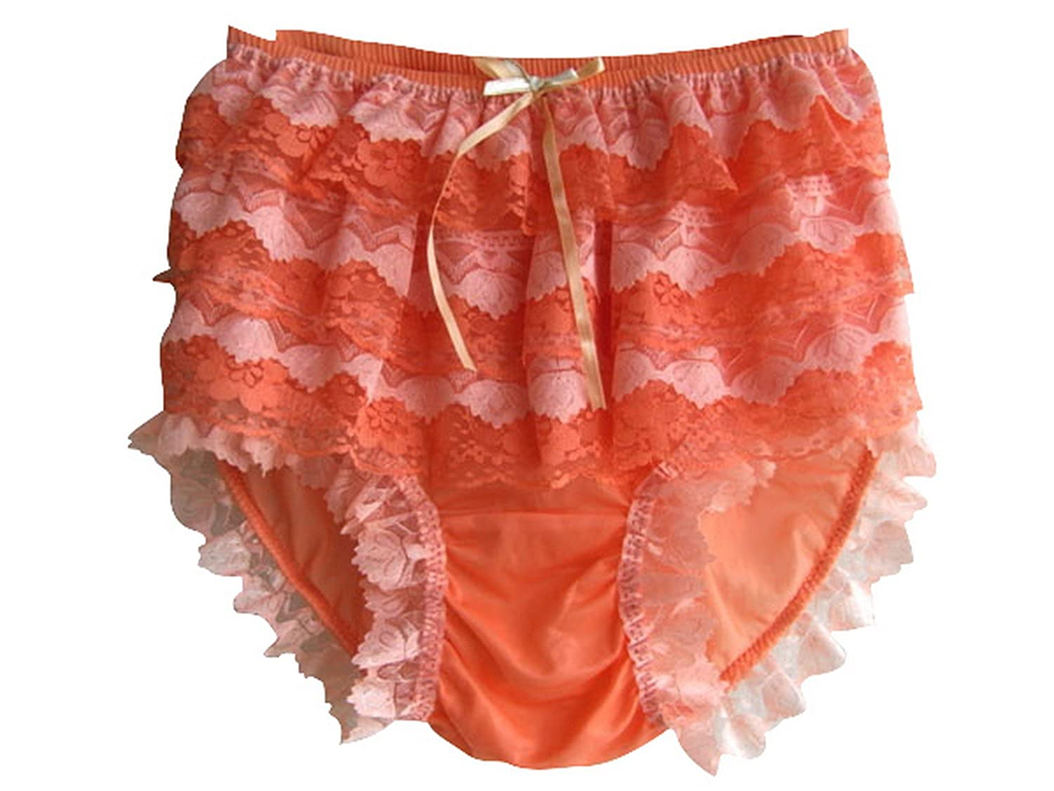 Frauen Handgefertigt Schlüpfer Orange Neu S9H4 Orange Briefs Nylon Panties Knicker Lacy kaufen