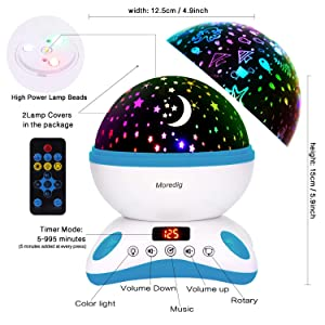 Blue White Parties Romantic Night Lighting Lamp for Birthday Moredig Baby Projector with Timer and Remote Built-in 12 Light Songs 360 Degree Rotating 8 Colorful Lights Bedroom