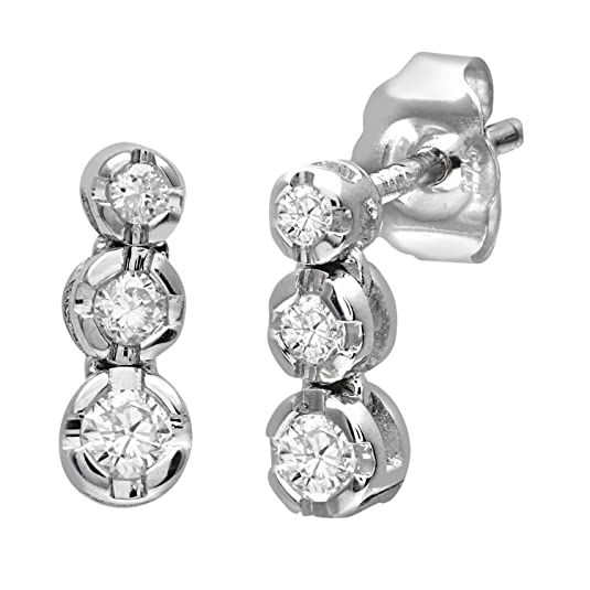 Naava 9 ct White Gold 0.15 ct Diamond Trilogy Earrings