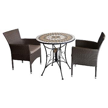3tlg. Sitzgruppe Gartengarnitur Balkonmöbel Bistromöbel Gartenmöbel Set - Mosaik Gartentisch, Ø70cm + 2x Poly Rattan Stapelsessel, braun-meliert inkl. Sitzkissen