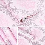 Yifely Vintage Pink Damask Self-Adhesive Shelf Drawer Liner Moisture Proof PVC Mat 45x300cm (Color: Pink)