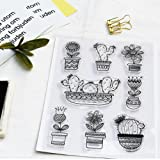 Clear Stamps for DIY Scrapbooking Paper Cards Making Decoration (cactus pot) (Color: cactus pot)