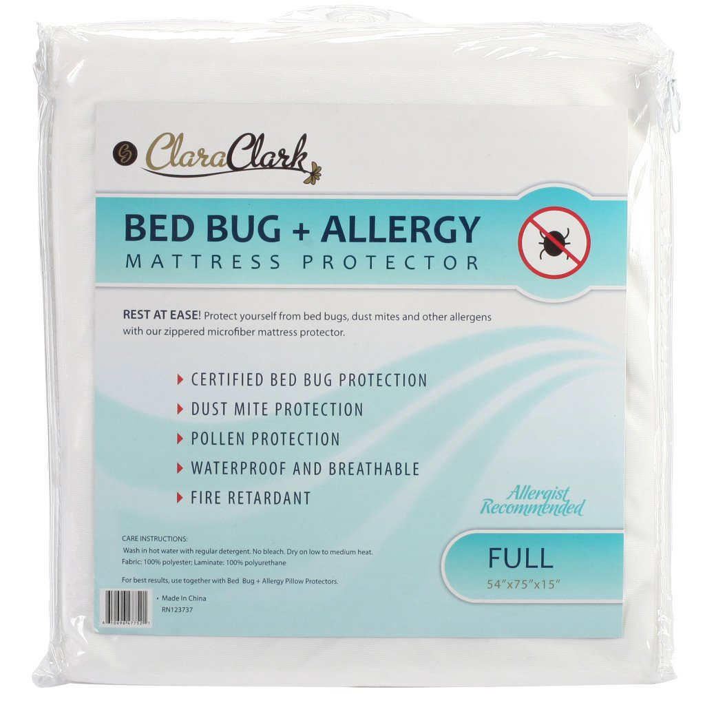 Clara Clark Hypoallergenic 100% Waterproof Washable Fire Retardant Mattress Cover, Protects From Bed Bugs, Dust Mites, Pollen, Mold And Fungus, Great for Asthma, Eczema And Allergy Sufferers, Available In 5 Sizes, Fits Mattresses Up To 15 Thick airborne pollen allergy