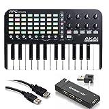 Akai Professional APC Key 25 - Ableton Live Controller with Keyboard + 4-Port USB 2.0 Hub + Hosa USB- Type High Speed USB Extension Cable (Tamaño: APC Key 25)
