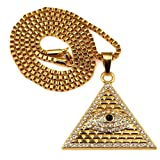 JAJAFOOK Mens Stainless Steel Gold Tone Charm Hip Hop Eye of Horus Pyramid Egyptian Pendant Necklace
