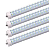 JESLED 8FT LED Light Tubes - 50W 5000K 6000 Lumens, Single Pin Fa8 Base, T8 T10 T12 LED Fluorescent Bulbs Replacement, 100-130W Equivalent, V Shape, Clear, Dual-Ended Power, Ballast Bypass (4-Pack) (Color: 5000K (Daylight White), Tamaño: 4 Pack)