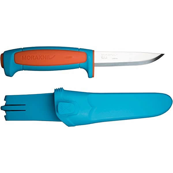 Morakniv Craftline Basic 511 High Carbon Steel Fixed Blade Utility Knife & Combi-Sheath, 3.6, Blue/Orange (Color: Blue/Orange, Tamaño: 3.6)
