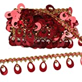 MELADY Pack of 10yards Sequins Pagoda Hanging Bell Tassel Lace Dance Clothing Accessories Fringe Trim (red) (Color: red)