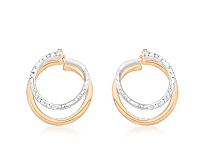 Carissima Gold 9 ct Two Colour Gold Diamond Cut Front Facing Double Hoop Earrings