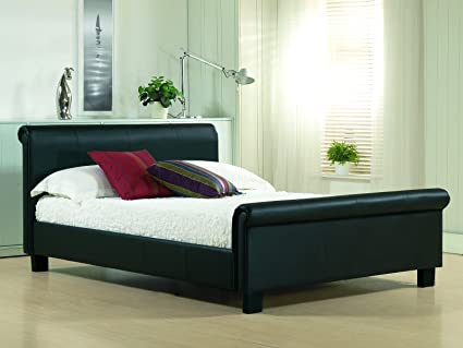 New 5ft King Size Black Modern Real Genuine Leather Sleigh Scroll Bed Frame RRP £599