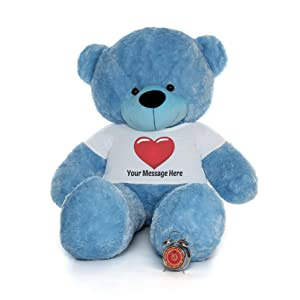Giant Teddy Personalized Life Size 6 Foot Bear Cuddles with Red Heart T-Shirt (Sky Blue) (Color: Sky Blue, Tamaño: 6 Foot)