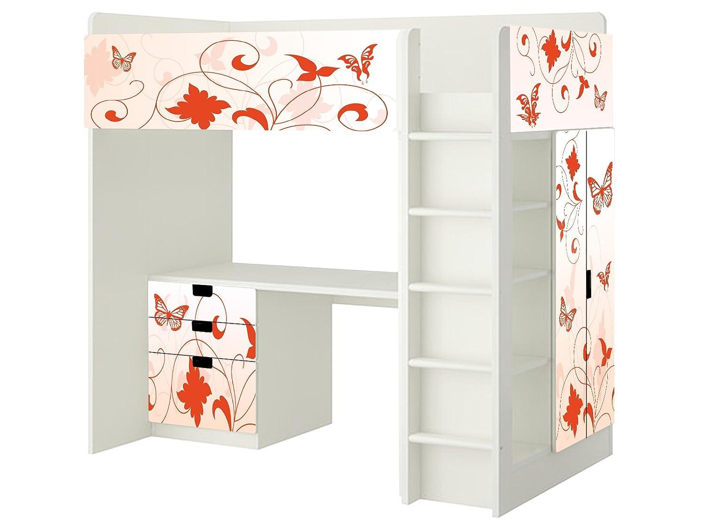 Orange Butterfly Aufkleber – SH11 – passend für die Kinderzimmer Hochbett-Kombination STUVA von IKEA – Bestehend aus Hochbett, Kommode (3 Fächer), Kleiderschrank und Schreibtisch jetzt bestellen