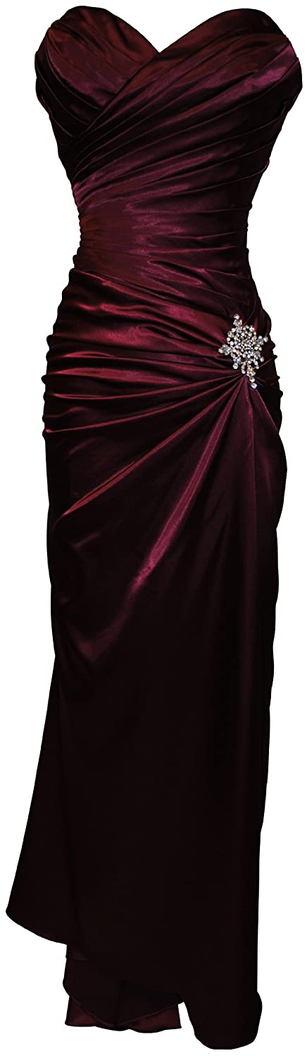 An affordable elegant burgundy bridesmaids dress.
