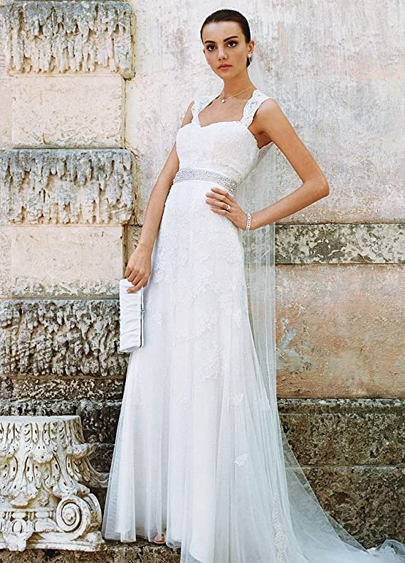 Lace SAMPLE Cap-Sleeve Slim Wedding Dress with Keyhole Back Style AI10030236
