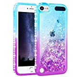 Maxdara Case for iPod Touch 5 6 7 Generation Case Glitter Liquid Girls Women Bling Sparkle Rhinestone Diamond Soft TPU Luxury Pretty Fashion Case for Touch 5th 6th 7th (Teal Purple) (Color: Gradient Teal&Purple)
