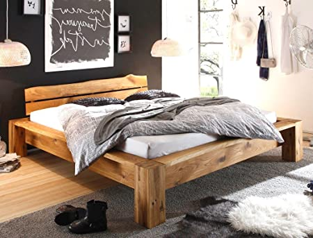 Massivholzbett Franco 140x200 Wildeiche geölt Holzbett Eichebett Singlebett Bett Schlafzimmer
