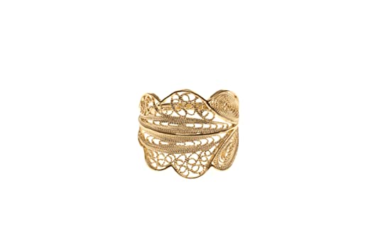 Wouters & Hendrix Women's Yellow Gold Plated 925 Sterling Silver Filigrane Leaf Shaped Ring - Size - N