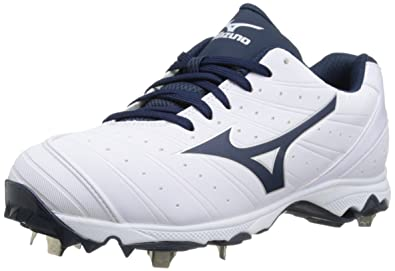 Mizuno Women's 9-Spike Advanced Sweep 2 Fastpitch Cleat, White/Navy, 12 M US