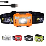 three trees Sensor Brightest LED -with Red Light Rechargeable Headlamp Flashlight for Kids Men and Women,Waterproof Perfect for Running, Walking,Reading,Camping Adjustable in 200 Lumens (Orange) (Color: orange, Tamaño: Small)