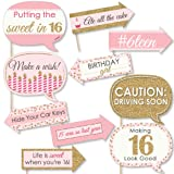 Big Dot of Happiness Funny Sweet 16-16th Birthday Party Photo Booth Props Kit - 10 Piece (Color: Pink, Gold, Black, White)