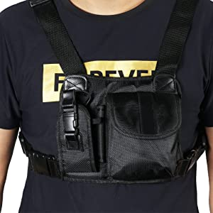 Marvogo Radio Chest Harness Chest Front Pack Pouch Holster Vest Rig for Two Way Radio Walkie Talkie(Rescue Essentials) (Color: H)