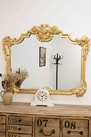 4Ft X 3Ft4 123cm X 100cm Large Gold Over Mantle Antique Ornate Big Wall Mirror