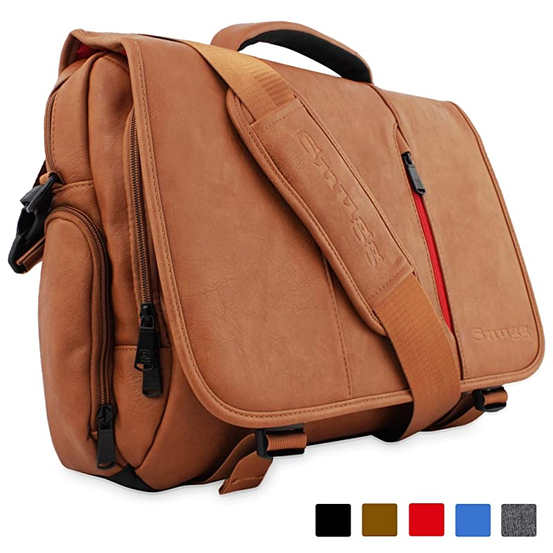 Snugg™ Crossbody Shoulder Messenger Bag in Brown Leather - Fits Laptops up to 15.6